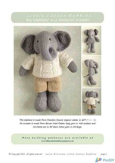 Little Cotton Rabbits-Boy Elephant in a textured sweater by Julie Williams-Knitting and Crochet Communication-Knitting Patterns-PinDIY -
