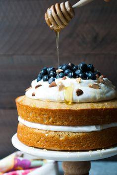 Lemon Blueberry Olive Oil Cake w/ Coconut Whipped Cream