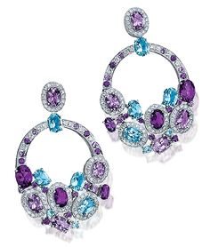 Cellini Aurora Collection Earrings Oval- and pear-shaped amethysts and blue topaz, accented with white diamonds, in 18-karat white gold - Cellini Jewelers