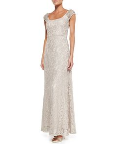 NM Kay Unger New York  Short-Sleeve Beaded Shoulder Dress