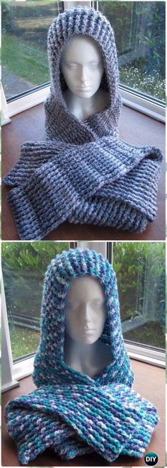 CrochetChunky Ribbed Scoodie Free Pattern - Crochet Hoodie Scarf Free Patterns