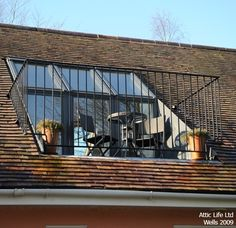 Velux Roof Terrace Via Atticlife Co Uk Attic Loft, Loft Room, Attic Rooms, Attic Spaces, Bedroom Loft, Attic Apartment, Attic Playroom, Bedroom Balcony, Attic Library