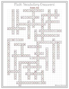 7th Grade Math Crossword Puzzles With Answers