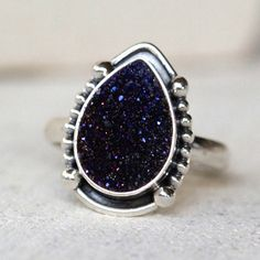 Natural Druzy Teardrop Ring - donbiujewelry  - 1
