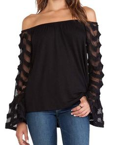 Fashionable Off-The-Shoulder Lace Spliced Sleeve Black T-Shirt For WomenT-Shirts | RoseGal.com