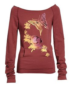 Another great find on #zulily! Brick Red & Yellow Butterfly Boatneck Sweatshirt by Blue Platypus #zulilyfinds