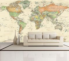 World Map Decal - World Map Mural - Antique Oceans Political Map - World Map Wallpaper - Peel & Stick Fabric - Easy Installation World Political Map, World Map Wallpaper, Bedroom Wallpaper, Wallpaper Murals, World Map Mural, World Map Decor, Ocean Colors, Wall Maps, Home Deco