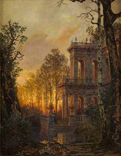 Ferdinand Knab (1834-1902), Römische Villa bei Sonnenuntergang - 1890