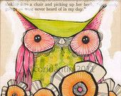 whimsical owl painting, Miss Daisy by Cori Dantini an 8 x 8 archival limited edition  archival print