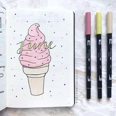 Delicious Ice Cream Bullet Journal ideas Eis Kugel Journal Layout-Idee journal how to start a Bullet Journal Fonts, Planner Bullet Journal, Bullet Journal Cover Page, Bullet Journal Ideas Pages, Bullet Journal Spread, Bullet Journal Inspo, Journal Covers, April Bullet Journal, Journal Inspiration
