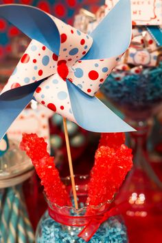 Such fun decorations at a Dr. Seuss party!  See more party ideas at CatchMyParty.com!  #drseuss #partyideas