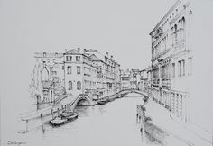 Pen and ink freehand sketch by Dai Wynn of the Rio del Carmini in Venice, Italy.  Drawing on 300gsm medium texture Arches french cotton paper.  29.5 cm high by 42 cm wide by 0.1 cm deep.  Unframed. For more artworks by Dai Wynn, please visit www.daiwynn.com