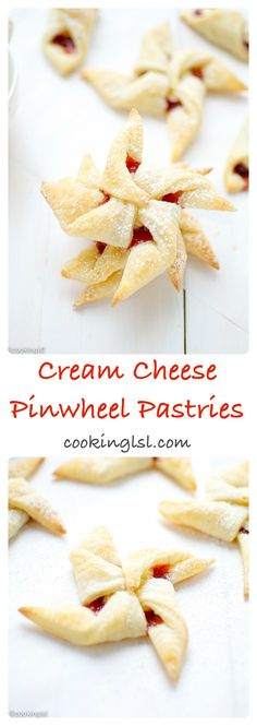 These Cherry Jam Cream Cheese Pastries - Pinwheel Cookies are sort, buttery and flakey. Filled with cherry jam and sweet cream cheese. Cream Cheese Pinwheels, Cream Cheese Pastry, Cream Cheese Cookies, Fun Desserts, Delicious Desserts, Dessert Recipes, Dessert Ideas, Brunch Recipes, Jam Cookies
