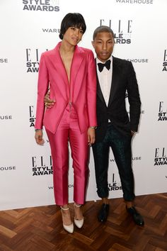 Pharrell Williams and wife Helen Lasichanh attend the Elle Style Awards 2014 at one Embankment on February 18, 2014 in London, England.