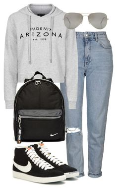 """""""Untitled #2396"""" by oliviaswardrobe ❤ liked on Polyvore featuring Topshop, NIKE and Rayban"""