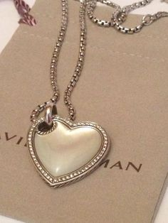 "DAVID YURMAN 17-18"" WHITE MOTHER OF PEARL & PAVE DIAMOND STERLING HEART NECKLACE #DavidYurman #Chain"