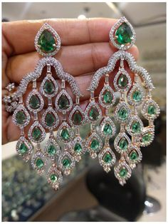 Diamond Earrings Indian, American Diamond Jewellery, Emerald Earrings, Diamond Jewelry, Diamond Jhumkas, Indian Wedding Jewelry, Indian Jewelry, Bridal Jewelry, Jewelry Sets