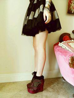 full skirt with black frilly socks and plum velvet heels. love love LOVE it.