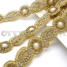 A stunning faux crystal and pearl trim with faux crystal stones and beads. Orders for more than one meter will be sent in one continuous piece. Decorate Lampshade, Gold Rate, Complimentary Colors, Grey And Gold, Beaded Trim, Bridal Accessories, Stones And Crystals, Embellishments, Beads