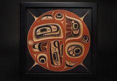 """Formline - Yukie Adams - red cedar, acrylic, framed (36""""x36""""x2"""")"""