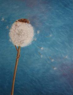 Harvestmouse on dandelion, oilpaint on paper