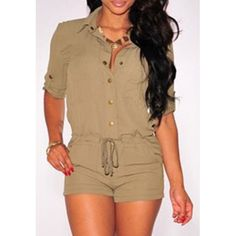 Simple Style Shirt Collar Solid Color Drawstring Waist Romper For Women