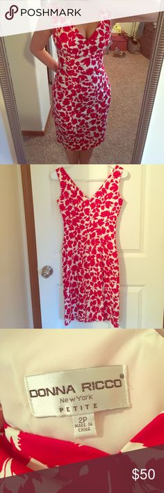 Floral Red Dress for the Summer Worn once, great condition. Fits like a glove, very comfortable. Donna Ricco Dresses