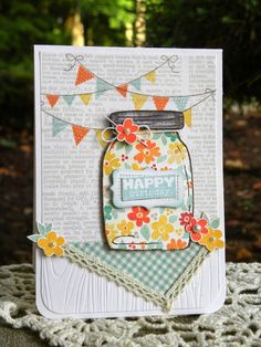 Everyone deserves to be showered with love! Isn't this just the perfect birthday card? I love the string of playful banners and the fun paper-pieced mason jar. Who wouldn't feel loved when receiving this lovely, handcrafted, from-the-heart card? I found this adorable card on Geri's Paper Wishes blog and send a great big thank you to Geri for sharing her wonderful inspiration. #WeeklyScrapper