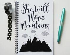 Diario de escritura, cuaderno, diario de bala, sketchbook, rejilla rayado blanco y negro, motivacional, en blanco - moverá montañas
