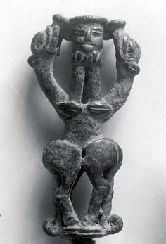 Idol standard (Period: Iron Age III Date: ca. 8th–7th century B.C. Geography: Iran, probably from Luristan Culture: Iran Medium: Bronze Dimensions: 3.35 x 1.73 in. (8.51 x 4.39 cm) Classification: Metalwork-Sculpture Credit Line: Gift of George D. Pratt, 1932)