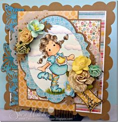 My card for Magnolia-licious/Wee Stamps Vellum Challenge, featuring Tlda Longstockings available here: magnoliastamps.us... #cards, #stamping, #silhouette