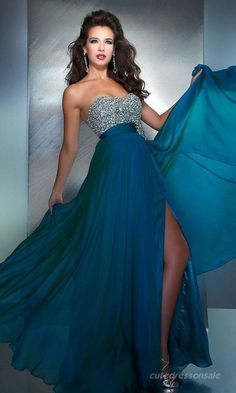 A-Line Hunter Prom Dresses Chiffon Sweetheart Prom Dresses 07797