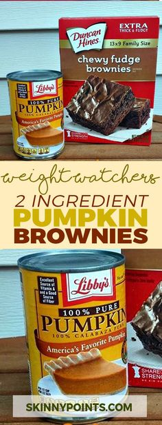 2 Ingredient Pumpkin Brownies weight watchers smart points friendly