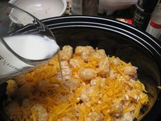 Cheesy Chicken Tater Tot Casserole in the Crockpot  *Made this today.  First, forgot to turn on the crockpot.  So, cooked on high for about 2 hours, and low for 1.5 hours.  Then realized I forgot to pour in milk, so did that with about 20 minutes left to cook.  That's just how good I am in the kitchen.  Guess what - it was still really good!