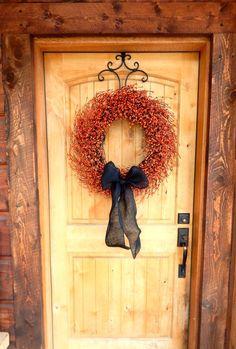 LARGE ORANGE & BLACK Burlap Wreath-Fall  Door Decor-Primitive Wreath-Halloween Home Decor-Halloween Wreaths-Autumn Decor-Choose your Scent