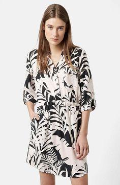Topshop Leaf Print Shirtdress (Regular & Petite) available at #Nordstrom