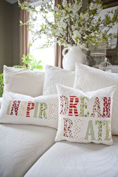 DIY Inspiration Throw Pillow Tutorial featured on Ella Claire