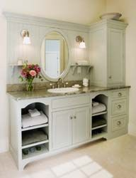 Crown Point Cabinetry painted bath in Bay Breeze