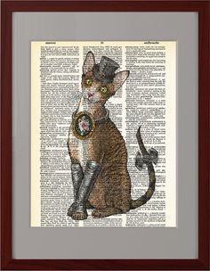 Cat devon print, Elegant Victorian steampunk cat print, Dictionary book pages print, old vintage book poster, Home dorm Wall Decor, CODE/219