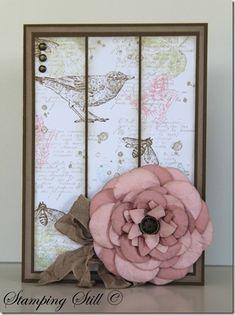 Stamps : French foliage, nature walk - Card Stock: crumb cake, white, suede, pink pirouette, blushing bride - Ink :  crumb cake, suede, river rock, calypso coral, baja breeze - Other : big shot, island floral die, fancy flower punch, 5 petal flower punch, crumb cake seam binding, antique brad, metallic brads