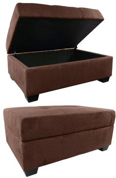 Epic Furnishings Vanderbilt 36 By 24 By Storage Ottoman Bench, Microfiber  Suede Chocolate Brown
