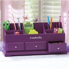 Personalized Gifts, Gifts for Kids, Holiday Decor Kids Desk Organization, Stationary Organization, Organizing, Purple Desk, Purple Office, What's My Favorite Color, Wooden Desk Organizer, Home Office, Purple Interior