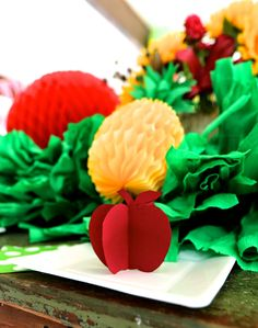 the COOP Farmers Market Party -- 3D Fruit place settings
