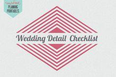 Wedding Planning Printable: Wedding Detail Checklist