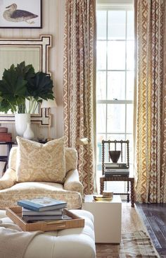 Southern Living Show House 2016 - Mark D. Sikes - beautiful living room with neutral shades and wonderful drapes.