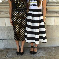 Stripe and polka dot midi skirts! Get them at www.tandjdesigns.com