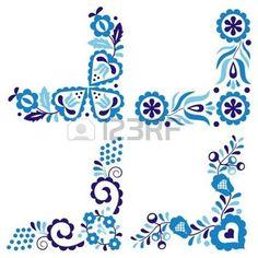 folk: Traditional folk patterns isolated on white background