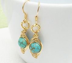 Gold Peapod Earrings  Genuine Turquoise by Kikiburrabeads on Etsy, $18.00