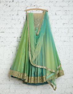 SwatiManish Lehengas SMF LEH 168 17 Teal shaded lehenga with dupatta and green threadwork blouse Half Saree Lehenga, Indian Lehenga, Bridal Lehenga, Eid Outfits, Pakistani Outfits, Indian Outfits, Indian Clothes, Indian Attire, Indian Wear