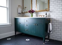 Painted cabinet idea for bathroom storage: small drawers! Great for trinkets and beauty items. Hammer & Hand